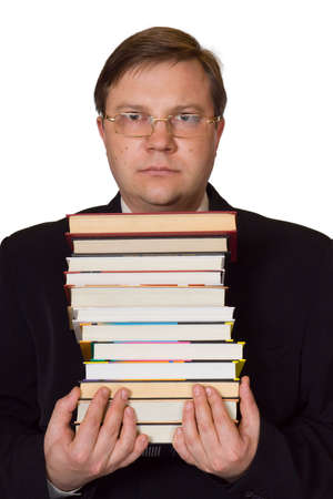glowering: Man with stack of books, isolated on white background Stock Photo