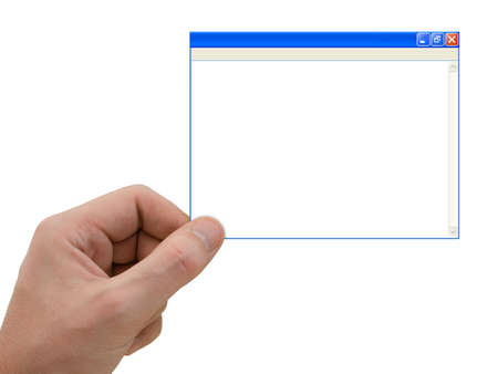 Computer window in hand, isolated on white background Stock Photo