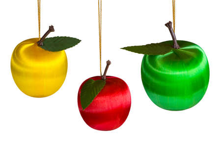 Three christmas apples, isolated on white background photo