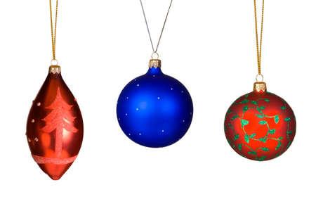 Three christmas balls, isolated on white background photo