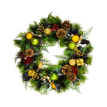 Christmas wreath, isolated on white background photo