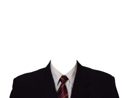 anonymus: Black suit (no head), isolated on white background