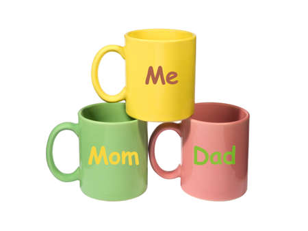 papa y mama: Tres tazas de colores - Mam�, Pap�, de m� (familia)