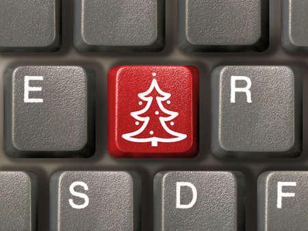 Computer-Tastatur, Schl�ssel mit Weihnachtsbaum, close-up