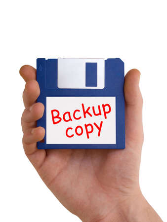 Backup disc in hand, isolated on white background Stock Photo - 2155529