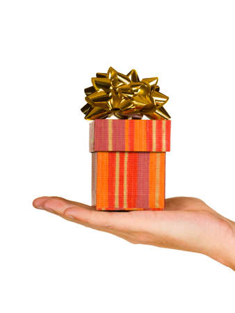 Hand and gift, isolated on white background Stock Photo - 2181594