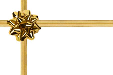 fiocco oro: Oro di prua e il nastro, isolata su sfondo bianco