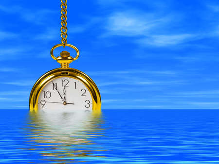 timeless: Clock in water, cloudy sky on background