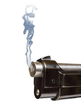 Smoking gun, close-up, isolated on white background photo