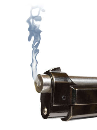 Smoking gun, close-up, isolated on white background photo