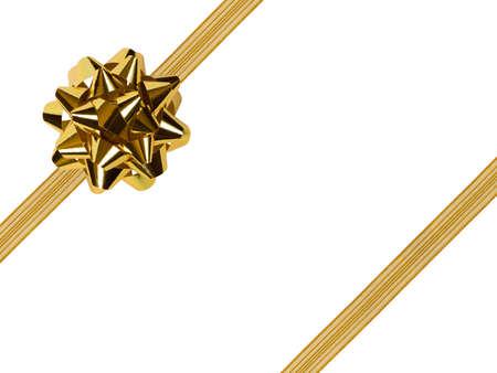 fiocco oro: Gold prua e nastro, isolato su sfondo bianco Archivio Fotografico