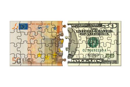Euro and dollar puzzle, isolated on white background photo