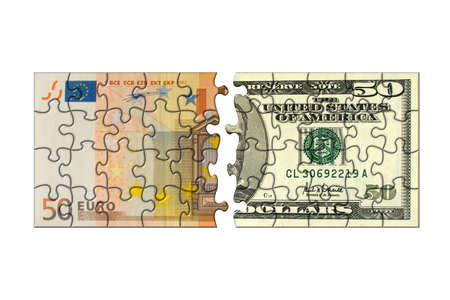 Euro and dollar puzzle, isolated on white background Stock Photo