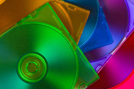 optical disk: Computer disks in multiciolored boxes, technology background