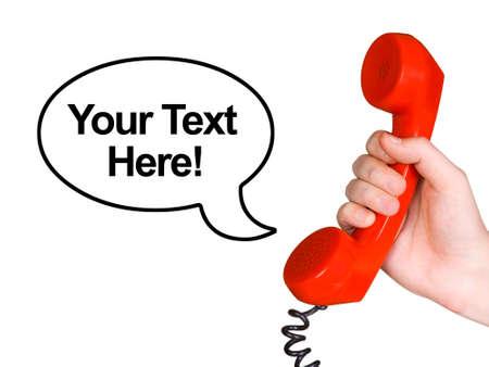 cable telefono: Tel�fono receptor en la mano y el habla de burbuja, aislada en fondo blanco