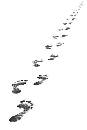 walking path: Foot steps, isolated on whine background Stock Photo