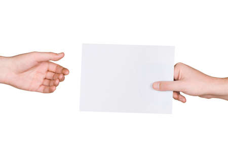 Hands and letter, isolated on white background photo