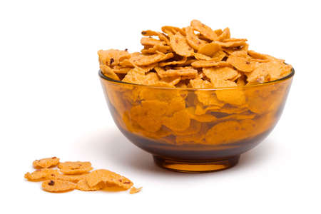 Bowl of cornflakes, isolated on white background Stock Photo - 2444882