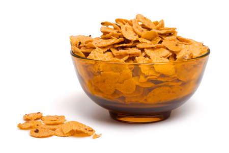 Bowl of cornflakes, isolated on white background Stock Photo - 2444882