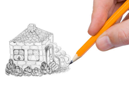 Hand drawing house, isolated on white background photo