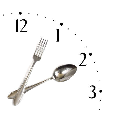 Clock made of spoon and fork, isolated on white background Stock Photo - 2466617
