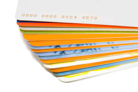 Stack of plastic cards, isolated on white background Stock Photo - 2472423