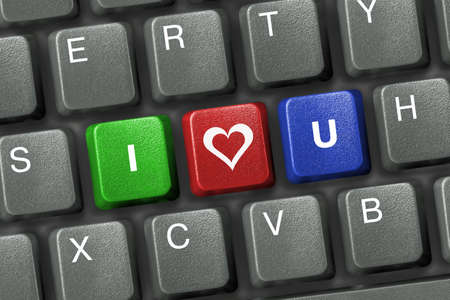 Computer keyboard with three love keys Stock Photo