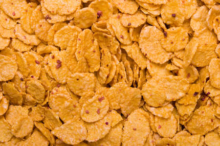 Macro of cornflakes, abstract food background photo