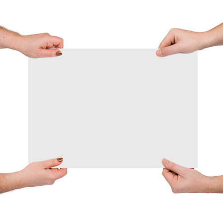 Hands and paper banner, isolated on white background photo