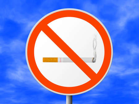 Round sign No smoking, sky on background Stock Photo - 2492348