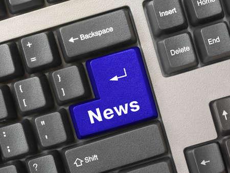 Computer keyboard -  key News, conceptual technology background Stock Photo - 2496867
