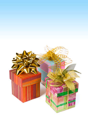 Three gifts, copyspace, isolated on white background photo