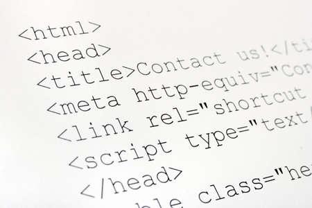 extensible: Impreso c�digo html de Internet, la tecnolog�a de antecedentes  Foto de archivo