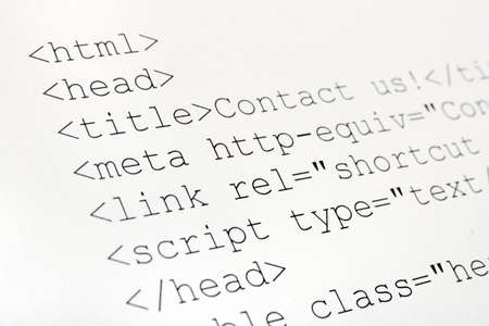 htm: Printed internet html code, technology background