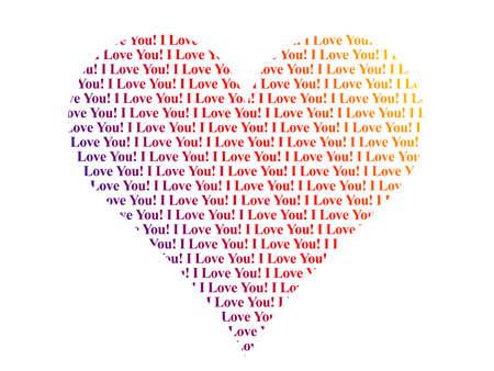 i nobody: Heart shaped words I Love You, isolated on white background Stock Photo
