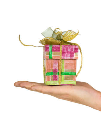 Hand and gift, isolated on white background Stock Photo - 2525814