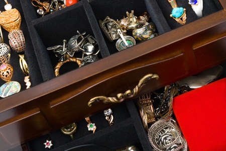Jewelry in box, abstract background photo