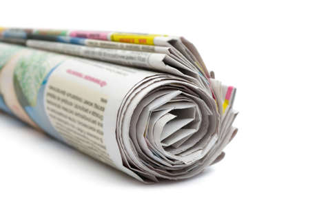 broadsheet: Roll of newspapers, isolated on white background Stock Photo