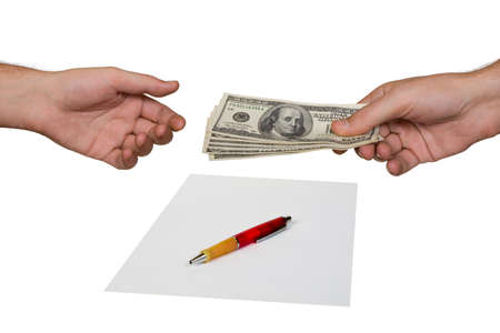 Hands, money and contract, isolated on white background photo