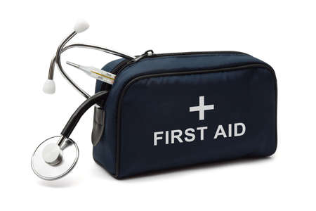 safety first: First aid kit, isolated on white background
