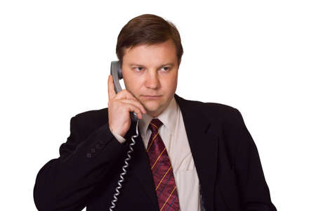 Businessman with phone, isolated on white background Stock Photo - 2570801