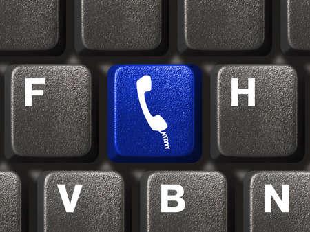 phone button: Computer toetsenbord met telefoon knop, communicatie concept