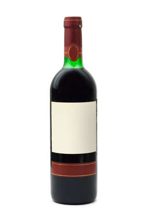 Bottle of wine with empty label, isolated on white background photo