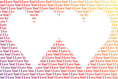 Hearts shaped words I Love You, isolated on white background photo