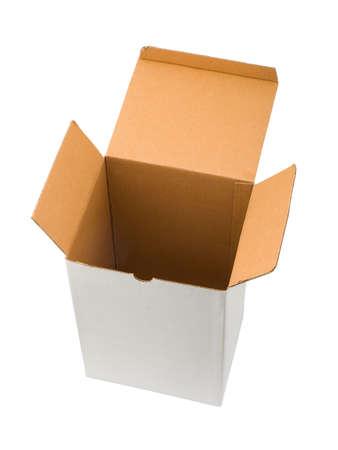 Empty cardboard box, isolated on white background photo