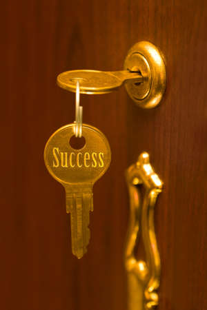 Golden key Success, abstract business concept photo