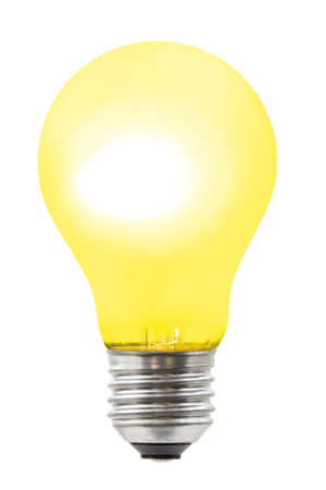 Yellow lighting lamp, isolated on white background photo