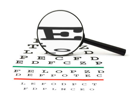 Magnifier on eyesight test chart, isolated on white background