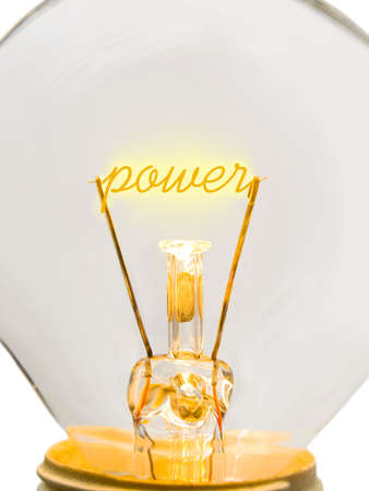 Word Power on lamp spiral, technology concept photo