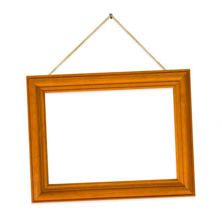 Wood frame on string, isolated on white background photo